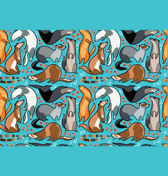 seamless pattern of cartoon ferrets with beads and vector image