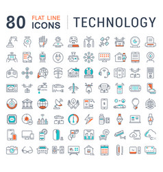 set flat line icons technology vector image vector image