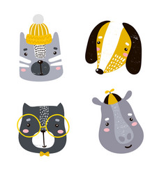 set of four cute animal faces creative animal vector image vector image