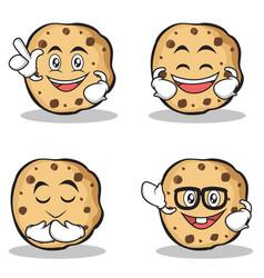 Set of sweet cookies character cartoon vector