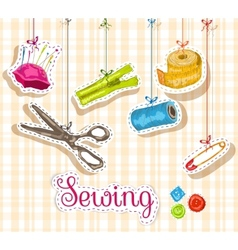 Sewing sketch composition vector image vector image