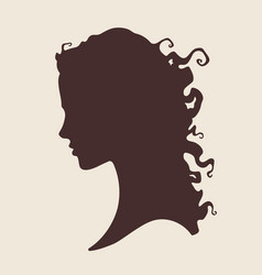 silhouette of beautiful curly woman vector image vector image
