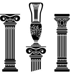 Stencils of columns and hellenic jug vector