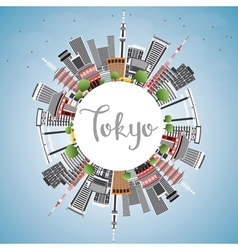 Tokyo skyline with gray buildings blue sky vector