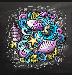 Underwater cartoon doodle chalkboard vector
