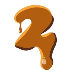 Number 2 from caramel icon vector
