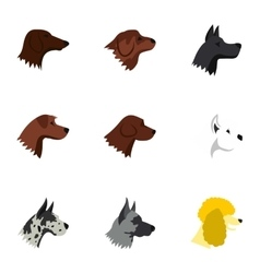 Types of dogs icons set flat style vector
