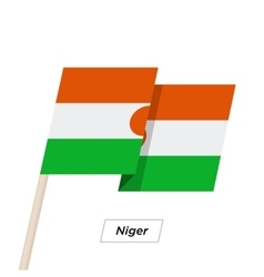 Niger ribbon waving flag isolated on white vector