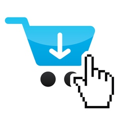 Shopping car glossy icon with cursor hand icon vector image