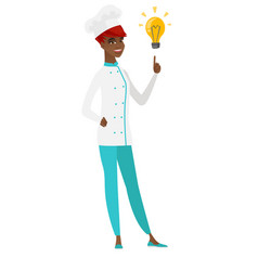 chef cook pointing at bright idea light bulb vector image