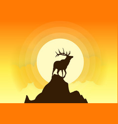 Deer silhouette sunset vector