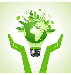 Save eco earth with bulb vector