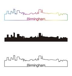 Birmingham skyline linear style with rainbow vector