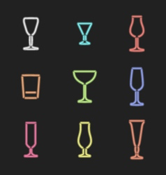 Neon light colors various alcohol glasses set vector