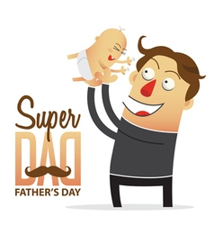 Father holding his son in cartoon character vector