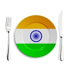 Plate with flag of india vector