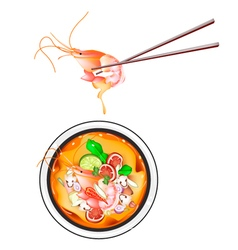 Thai sour soup with prawns or tom yum goong vector