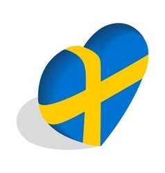Heart of Sweden flag colors icon vector image