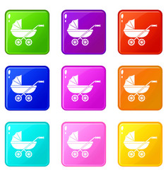 Baby carriage icons 9 set vector