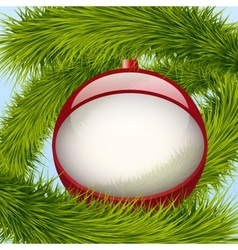 Background Christmas ball and spruce tree vector image
