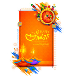 Burning diya and firecracker on happy diwali vector