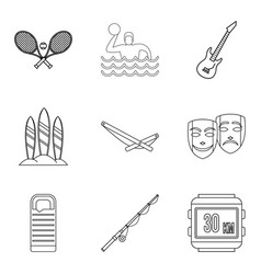 Chill out icons set outline style vector