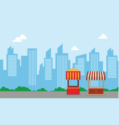City background with street stall vector
