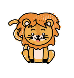 Cute lion wild animal with face expression vector