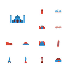 Flat icons rio japan moscow and other vector