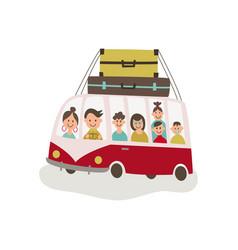 Flat travelling vintage minivan car vector