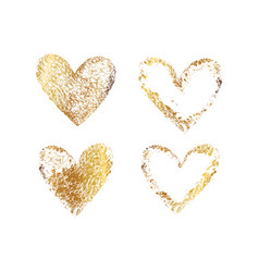 Gold heart frame vector