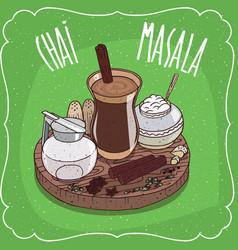 Indian tea masala chai with milk jug with lid vector