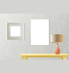 Interior room realistic mockup with poster paper vector