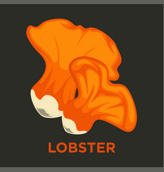 Lobster edible mushroom isolated flat icon vector