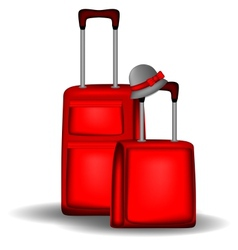 Red luggage vector image vector image
