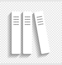 Row of binders office folders icon white vector