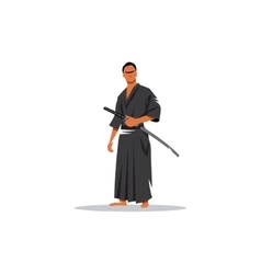 Samurai Warrior With Katana Sword vector image