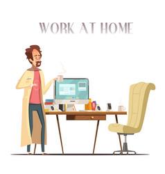 sick man home retro cartoon image vector image vector image