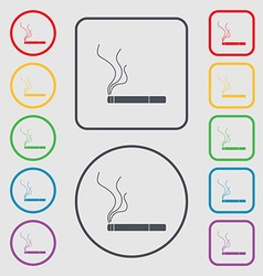 Smoking sign icon cigarette symbol symbols on the vector