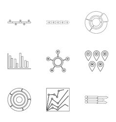Success in business icons set outline style vector