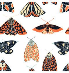 Summer moth seamless pattern vector