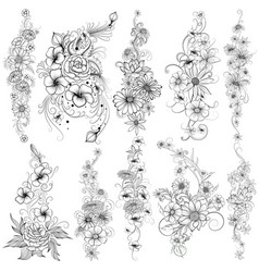 tattoo art design of floral flower collection vector image vector image