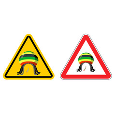 Warning sign rastaman attention stoned drug man vector
