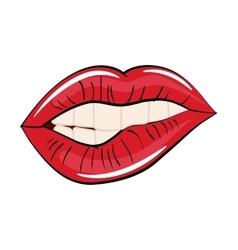 Woman lips comic style vector