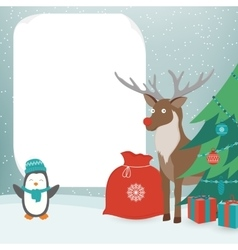 Christmas Card with Christmas Characters Template vector image