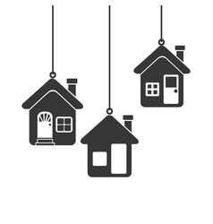 Silhouette set collection hanging houses vector