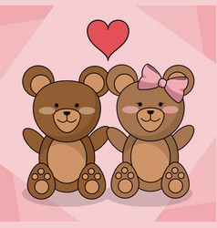 loving bears couple animal baby heart decoration vector image