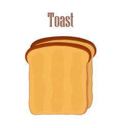 Fried bread toast breakfast made in flat style vector