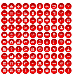 100 industry icons set red vector