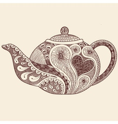 Patterned teapot drawing vector